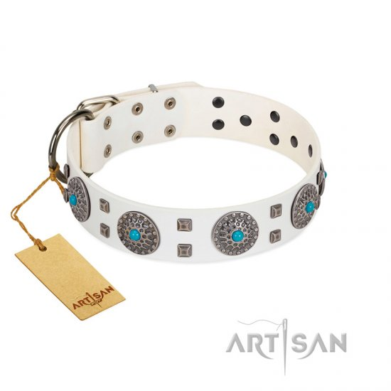 """Blue Sapphire"" Designer FDT Artisan White Leather Collie Collar with Round Plates and Square Studs"
