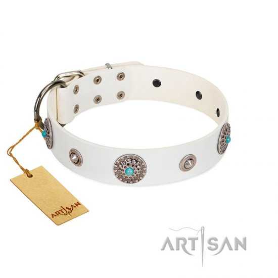 """Lush Life"" Designer Handcrafted FDT Artisan White Leather Collie Collar with Blue Stones"