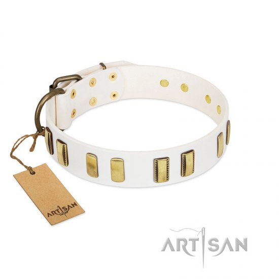 """Glorious Light"" FDT Artisan White Leather Collie Collar with Old Bronze-like Plates"