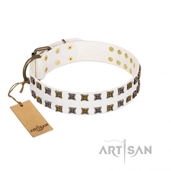 """Ice Peak"" FDT Artisan White Leather Collie Collar with Silvery and Goldish Decorations"