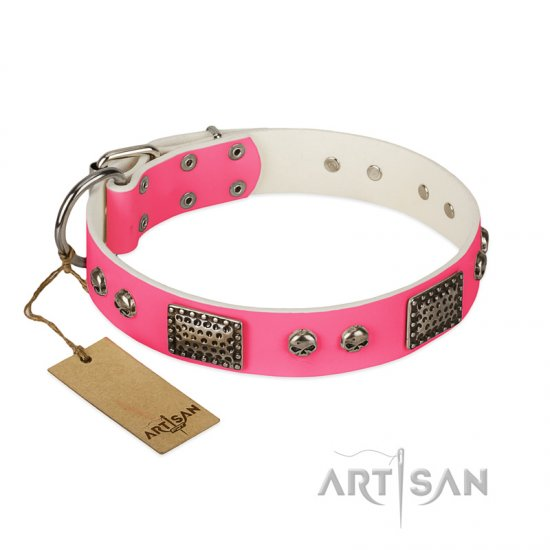 """Fashion Skulls"" FDT Artisan Pink Leather Collie Collar with Old Silver Look Plates and Skulls"