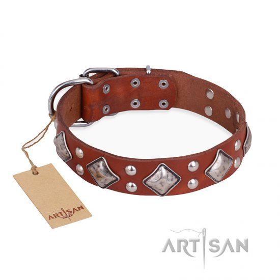 """Magic Squares"" FDT Artisan Tan Leather Collie Collar with Silver-like Decor"