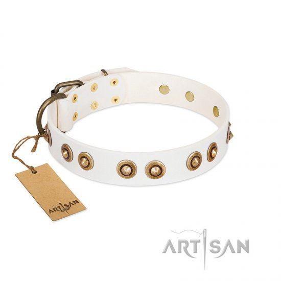 """Moonlit Stroll"" FDT Artisan White Leather Collie Collar with Antique Decorations"