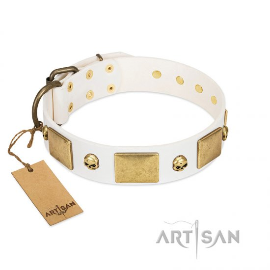 """Inspiration"" FDT Artisan White Leather Collie Collar with Antiqued Skulls and Plates"