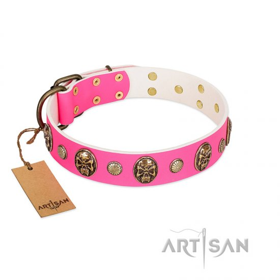 """Miss Pinky Fluff"" FDT Artisan Pink Leather Collie Collar Adorned with Conchos and Medallions"