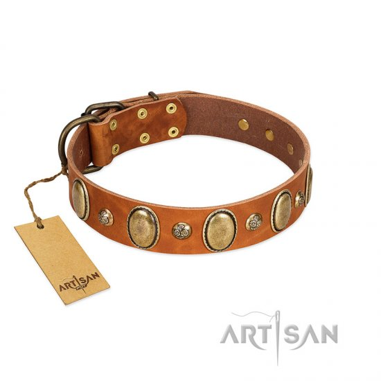 """Venus Breath"" FDT Artisan Tan Leather Collie Collar with Vintage Looking Oval and Round Studs"