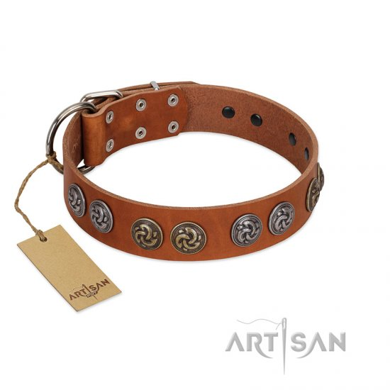 """Luxurious Life"" Premium Quality FDT Artisan Tan Leather Collie Collar with Round Adornments"