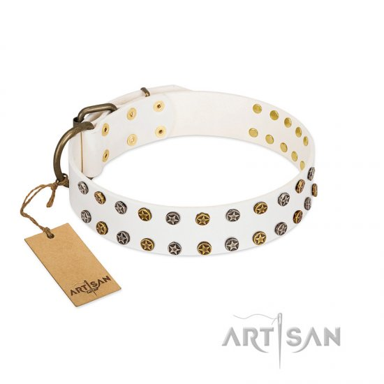 """Crystal Night"" FDT Artisan White Leather Collie Collar with Two Rows of Small Studs"