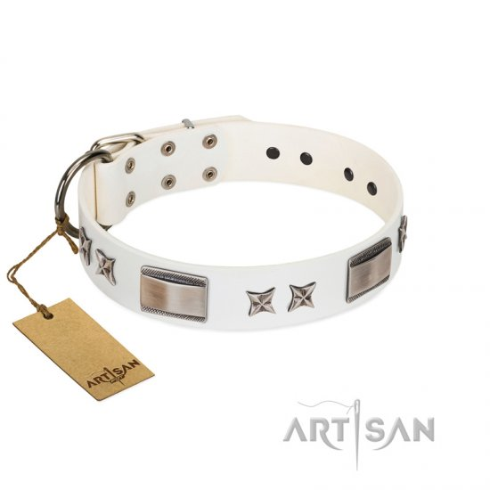 """Bling-Bling"" FDT Artisan White Leather Collie Collar with Sparkling Stars and Plates"
