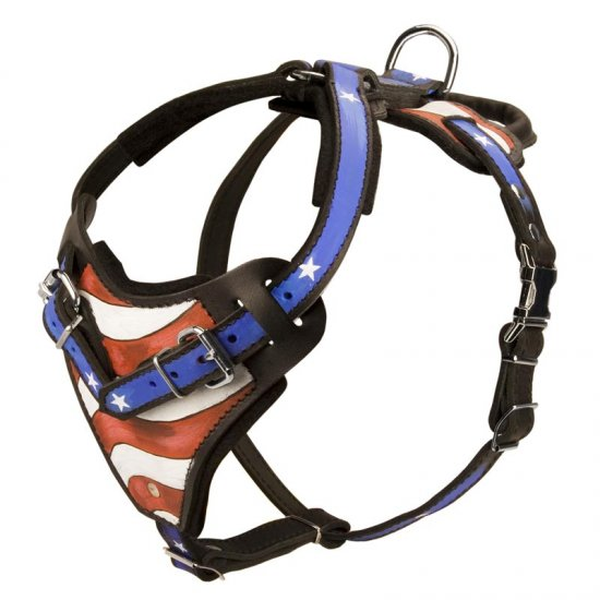 American Flag Painted Leather Collie Harness for Agitation Training