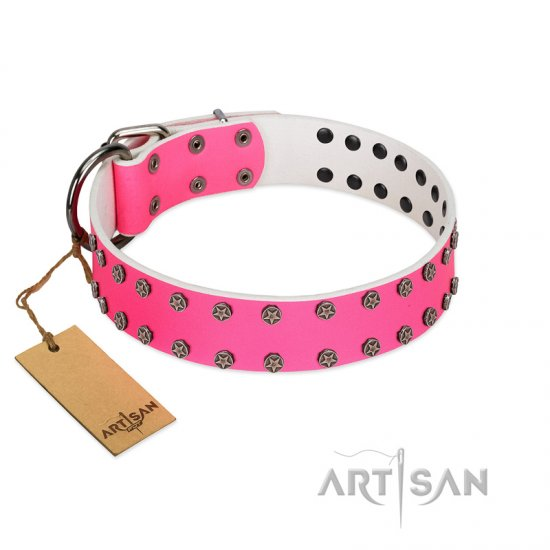 """Pink Fashion"" Designer FDT Artisan Pink Leather Collie Collar with Silver-Like Studs"