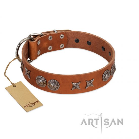 """Splendid Armor"" Premium Quality FDT Artisan Tan Designer Collie Collar with Shields and Stars"