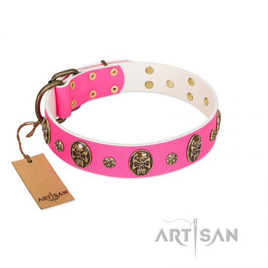 """Fashion Show"" FDT Artisan Pink Leather Collie Collar with Old Bronze-like Skulls and Studs"