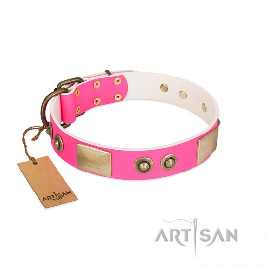 """Pink Splash"" FDT Artisan Soft Leather Collie Collar with Bronze-like Plates and Medallions"