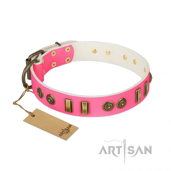 """Pink Amulet"" FDT Artisan Leather Collie Collar with Old Bronze-like Plates and Circles"