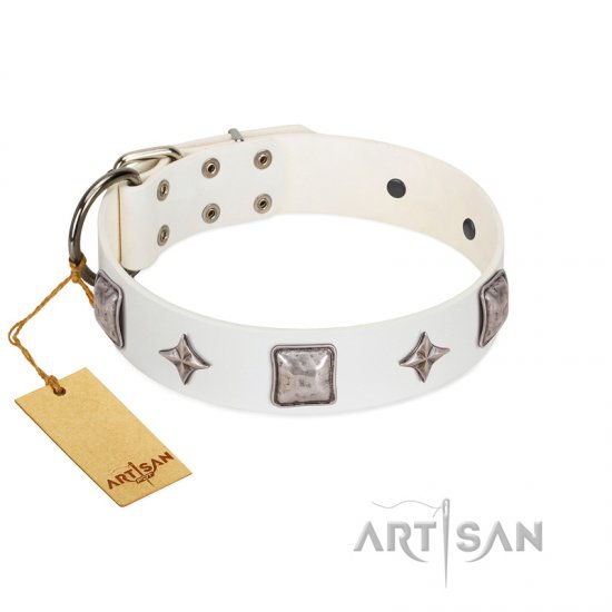 """Vanilla Ice"" FDT Artisan Handmade White Leather Collie Collar with Silver-like Adornments"