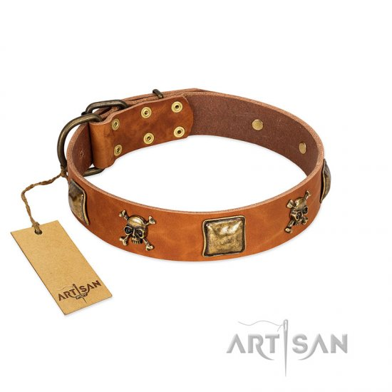 """Knights Templar"" FDT Artisan Tan Leather Collie Collar with Skulls and Crossbones Combined with Squares"