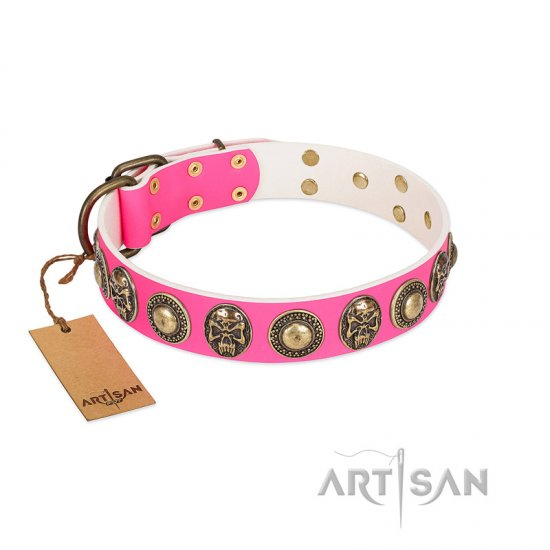 """Two Extremes"" FDT Artisan Pink Leather Collie Collar with Elegant Conchos and Medallions with Skulls"