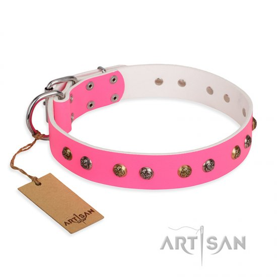 """Sheer love"" Pink Leather FDT Artisan Collie Collar with Old-look Hemisphere Studs"