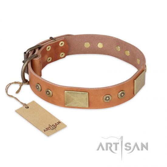 """The Middle Ages"" FDT Artisan Handcrafted Tan Leather Collie Collar"