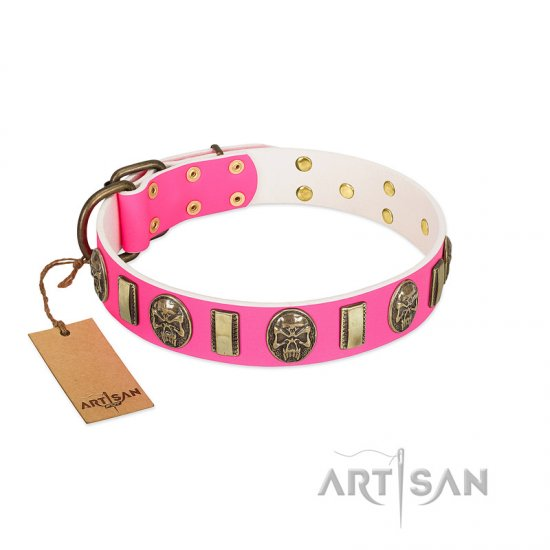 """Perilous Beauty"" Pink FDT Artisan Leather Collie Collar with Small Plates and Skulls"