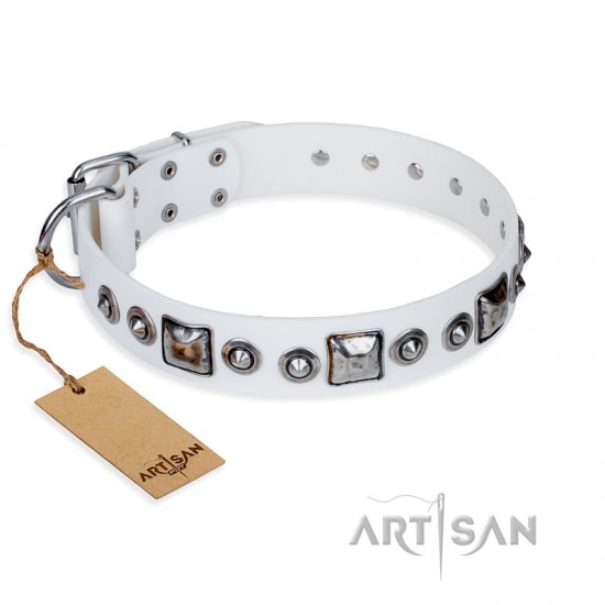 """Lustre of Fame"" FDT Artisan White Studded Leather Collie Collar"