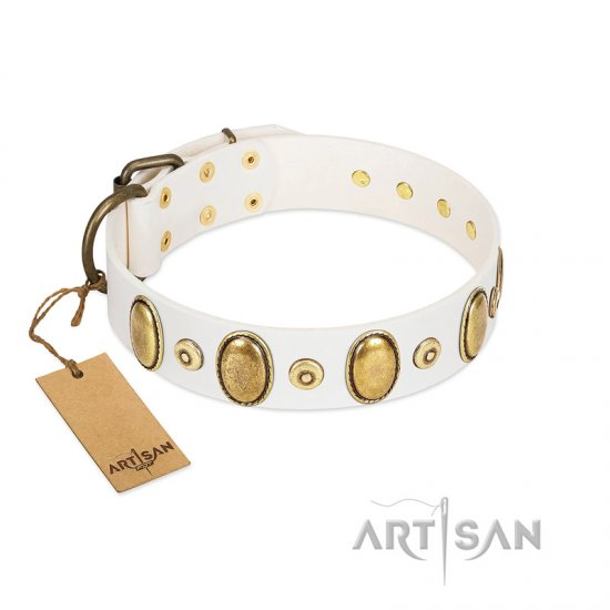 """Pearly Grace"" FDT Artisan White Leather Collie Collar with Engraved Ovals and Small Dotted Studs"