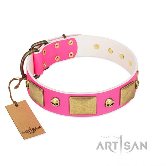 """Glammy Voyage"" FDT Artisan Pink Leather Collie Collar with Stylish Bronze-like Decorations"