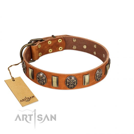 """Strike of Rock"" FDT Artisan Tan Leather Collie Collar with Plates and Medallions with Skulls"