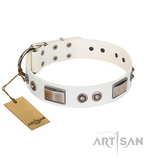 """Good-Luck Piece"" FDT Artisan White Collie Collar Adorned with Chrome Plated Studs and Plates"