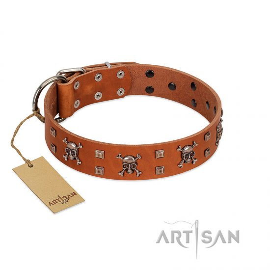 """Rebellious Nature"" FDT Artisan Tan Leather Collie Collar Embellished with Crossbones and Square Studs"