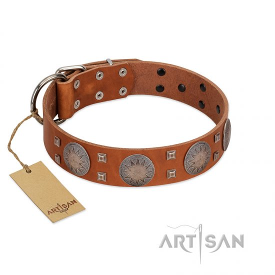"""Sun Rise Noon"" FDT Artisan Tan Leather Collie Collar with Unique Design"
