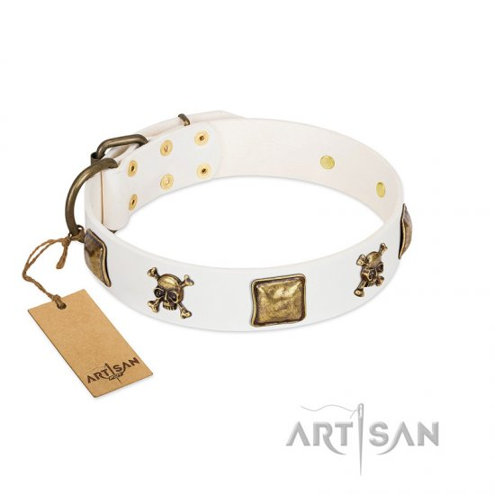 """Glo Up"" FDT Artisan White Leather Collie Collar with Skulls and Crossbones Combined with Squares"