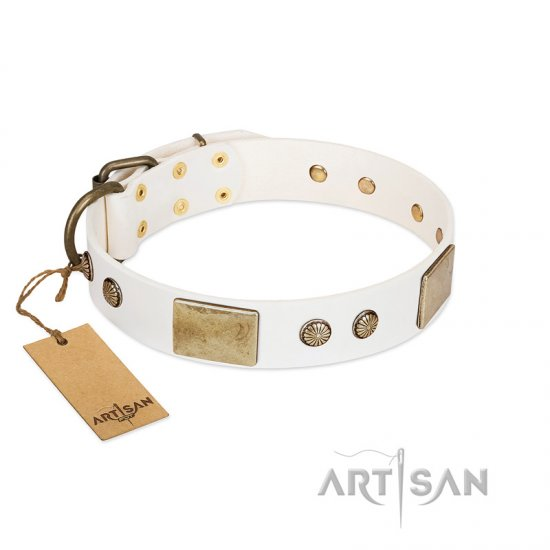 """Pure Elegance "" FDT Artisan White Decorated Leather Collie Collar - 1 1/2 inch (40 mm) wide"