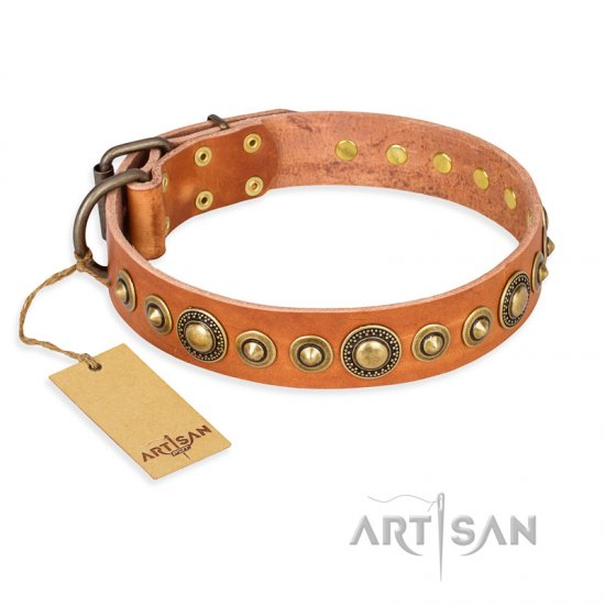 """Feast of Luxury"" FDT Artisan Tan Leather Collie Collar with Old Bronze Look Circles"