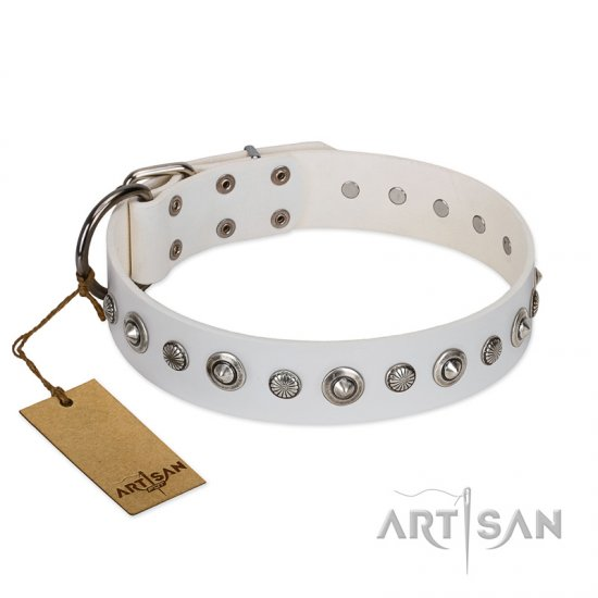 """Infinite Purity"" White FDT Artisan Leather Collie Collar with Elegant Decorations"