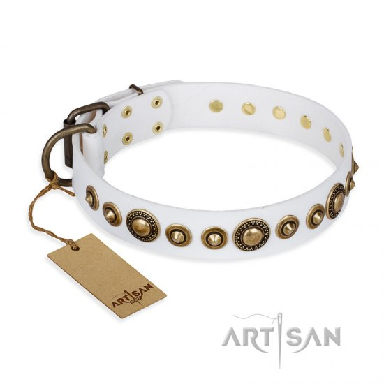 """Swirl of Fashion"" FDT Artisan Delicate White Leather Collie Collar with Stunning Bronze-Plated Round Studs"