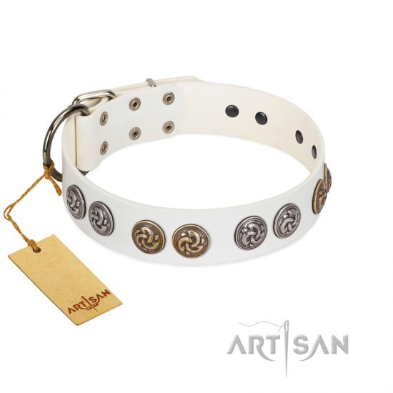 """White Moonlight"" FDT Artisan White Leather Collie Collar with Elegant Decorations"