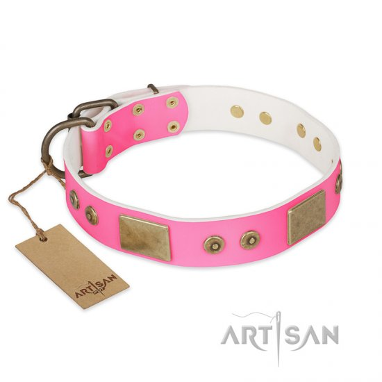 """Pink World"" FDT Artisan Pink Leather Collie Collar with Old Bronze Look Plates and Studs"