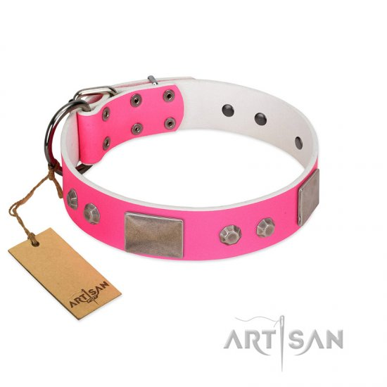 """Pink Blush"" Premium Quality FDT Artisan Pink Designer Collie Collar with Plates and Studs"