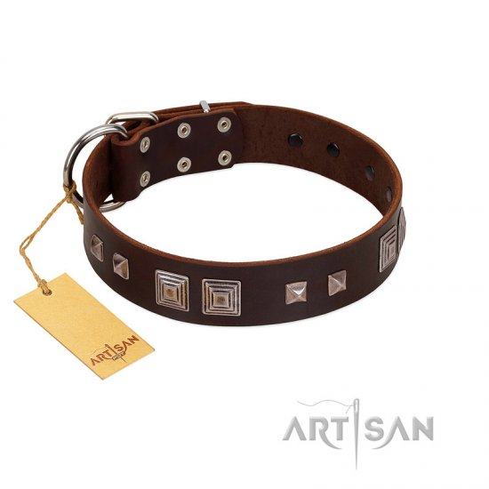 """Object of Virtu"" FDT Artisan Brown Leather Collie Collar with Old Silver-like Square Studs and Pyramids"
