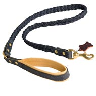 Braided Handcrafted Leather Collie Leash with Nappa Leather Lined Handle