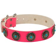 Pink Leather Collie Collar with Decorative Circles