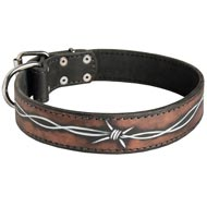Handpainted Leather Collie Collar with Barbed Wire Drawing