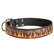 Handpainted Leather Collie Collar with Red Flames