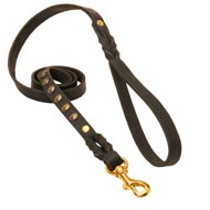 Studded Leather Collie Leash for Dog Walking and Training