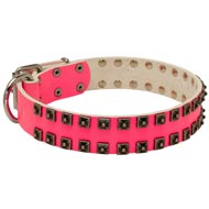 Fashionable Pink Leather Collie Collar with Studs for Walking She-Dogs