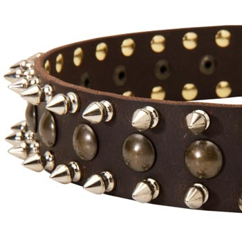 Collie Leather Collar with Hand Set Spikes  And Studs