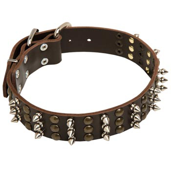 Collie Handmade Leather Collar 3  Studs and Spikes Rows