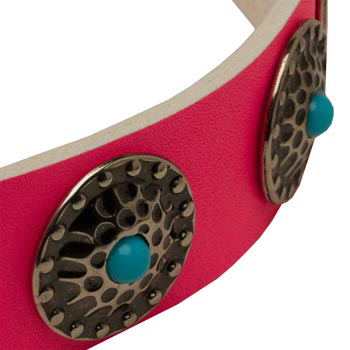 Pink Collie Collar Leather with Blue Stones